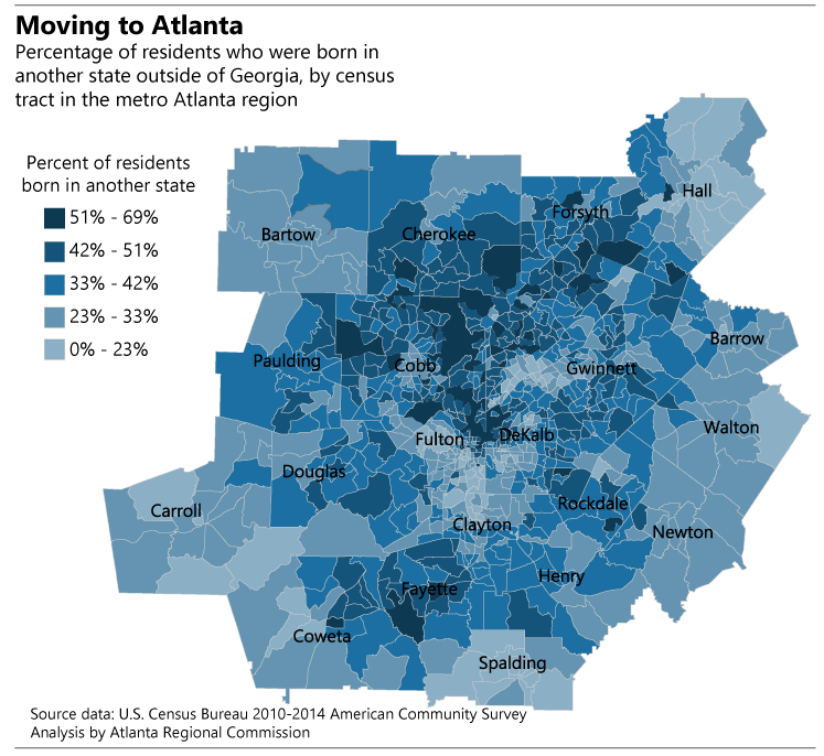 Metro Atlanta born in another state residents