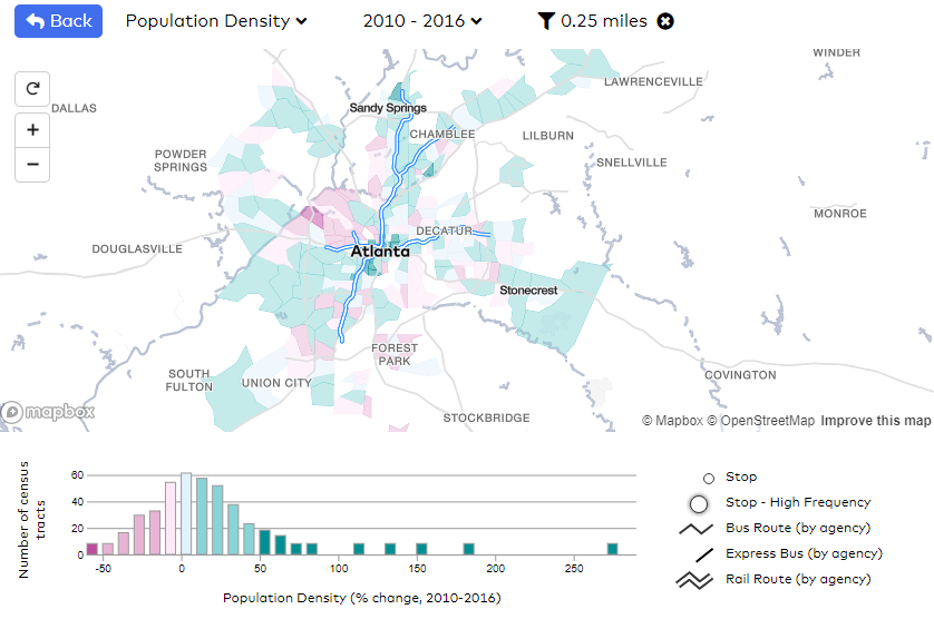 Screencap of the Transit Insights mapping tool showing population density change in the Atlanta region