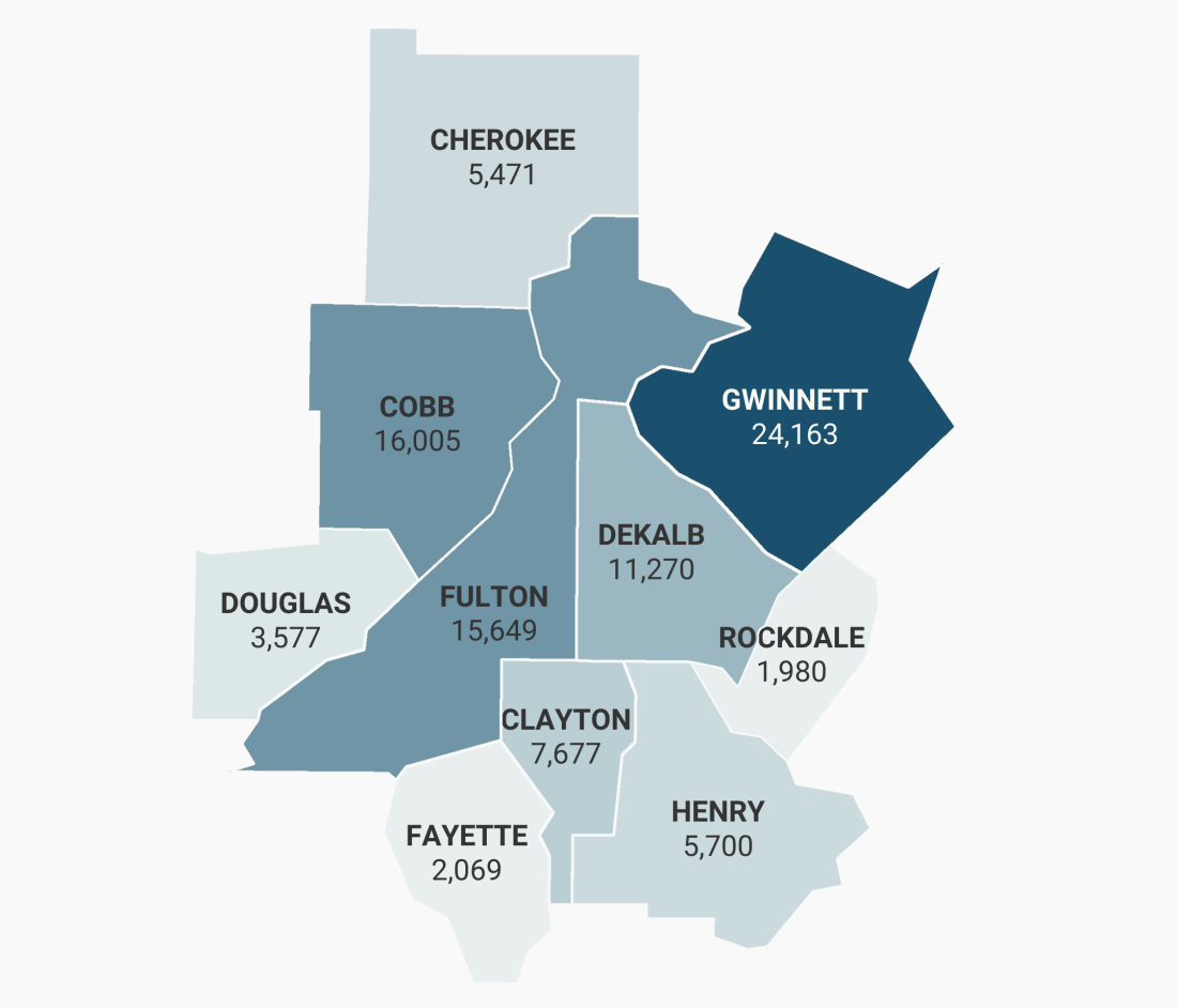 Map of the 10 County Atlanta Region showing the number of students with IEPs