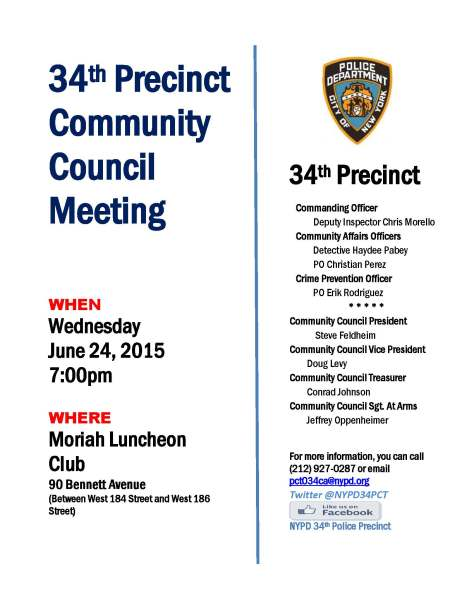Flyer for June 2015 34th Precinct Council Community Meeting.