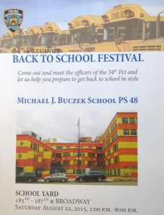 Join the 34th Precinct officers Saturday for a Back to School Festival.