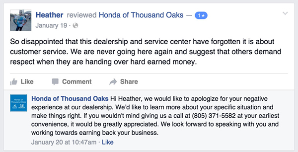 example of business responding to negative online review