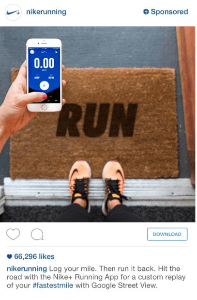 Example of Instagram ad from Nike