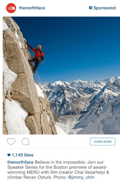 Example of Instagram ad from The North Face