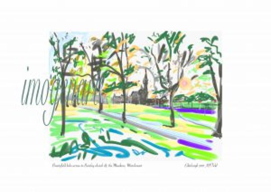 Print of iPad sketch of Spring sunset on Bruntsfield Links with Barclay church, Marchmont Edinburgh