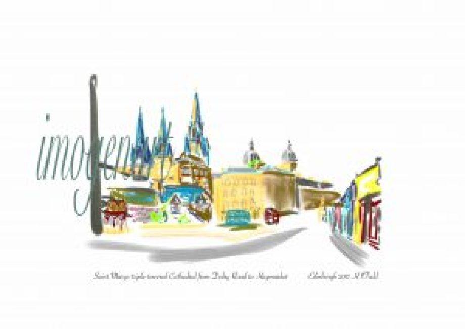 Print of iPad sketch of Three towers of Saint Mary