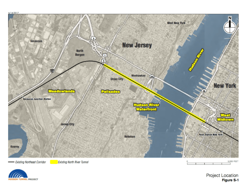 Map showing route of Hudson River Rail Tunnel from North Bergen, NJ to Penn Station, NYC