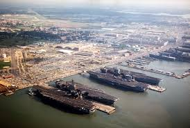 Aerial view of Naval Base Norfolk