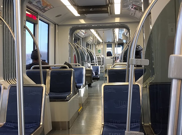 Interior view of Siemens S70 Light Rail Vehicle
