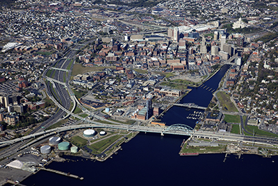 Aerial photo of Downtown Providence and Providence River