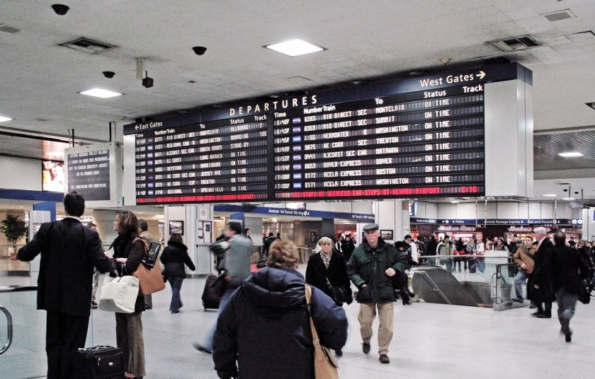 Photo showing scene inside Penn Station, NYC