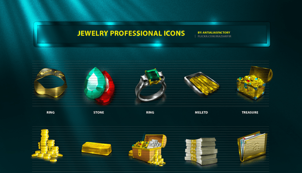 Jewelry Professional Icon Set