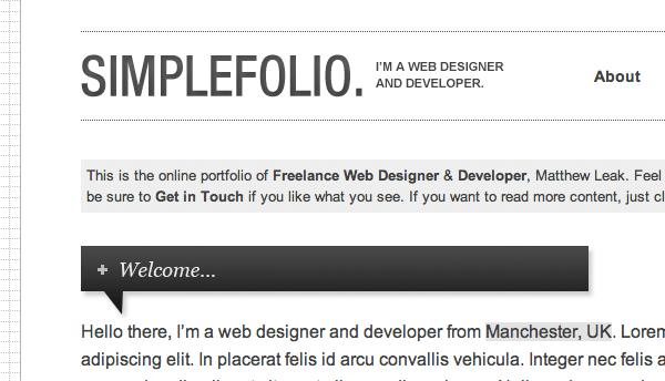 SimpleFolio Sinlge Page XHTML Theme - Free Download