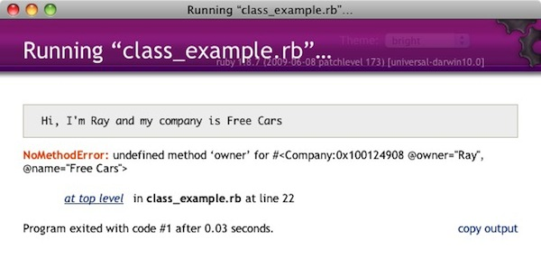 Error in class