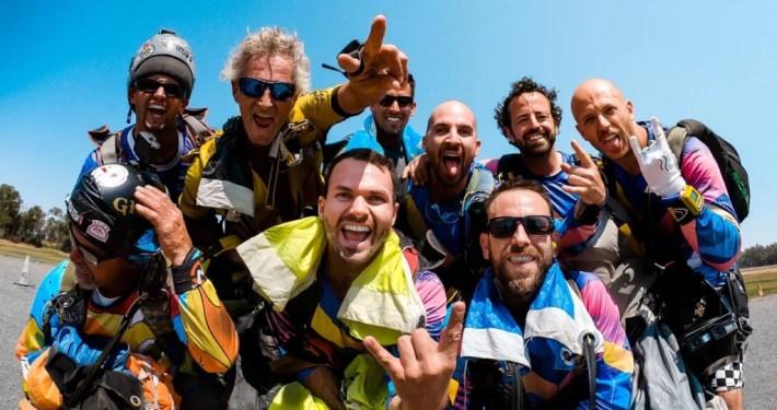friends together after skydiving jump skydiving legends Olav Zipser