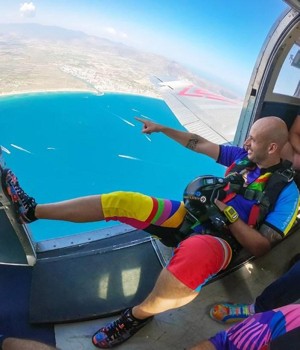 Show a short skydiving jumpsuit