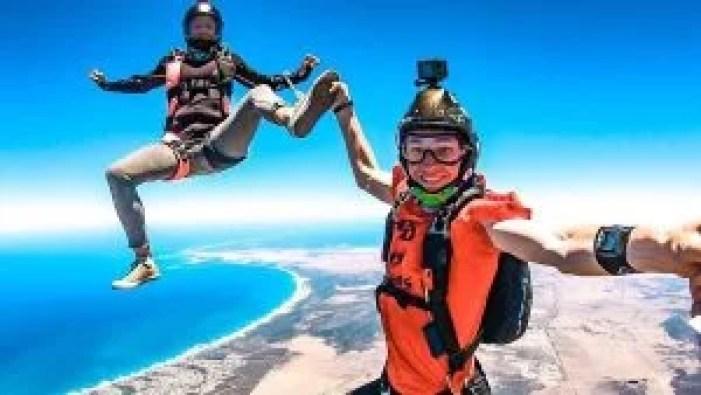 skydiving fun smiles