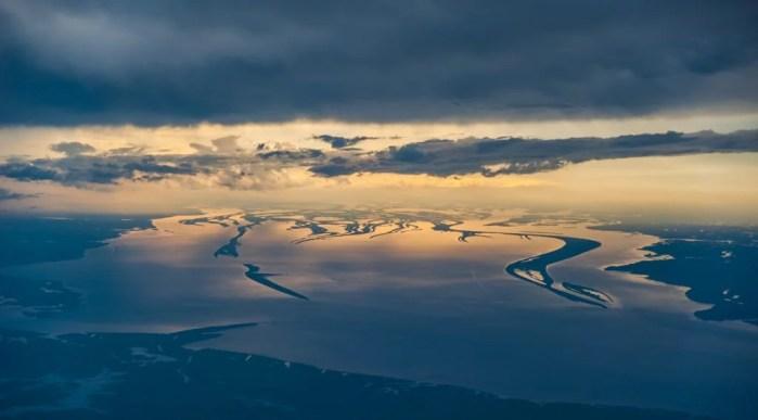 aerial photograph, amazon river, rio amazonas, Brazil, brasil, sunset