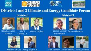 Districts 1 and 3 Climate and Energy Candidate Forum @ Dickey-Lawless Auditorium | Austin | Texas | United States