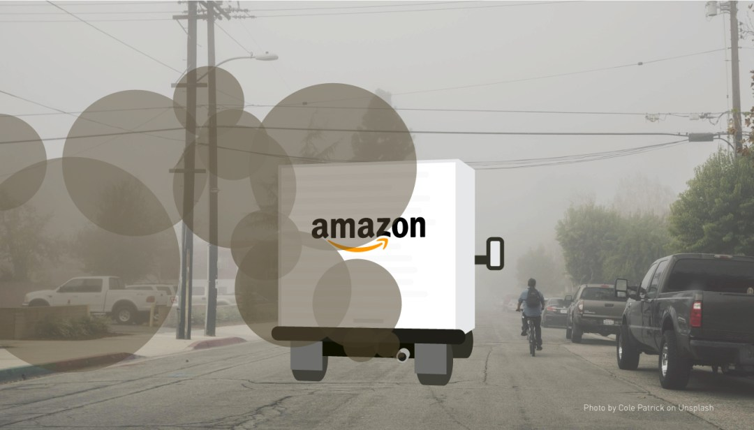 Amazon Prime delivery van spewing pollution on a residential street