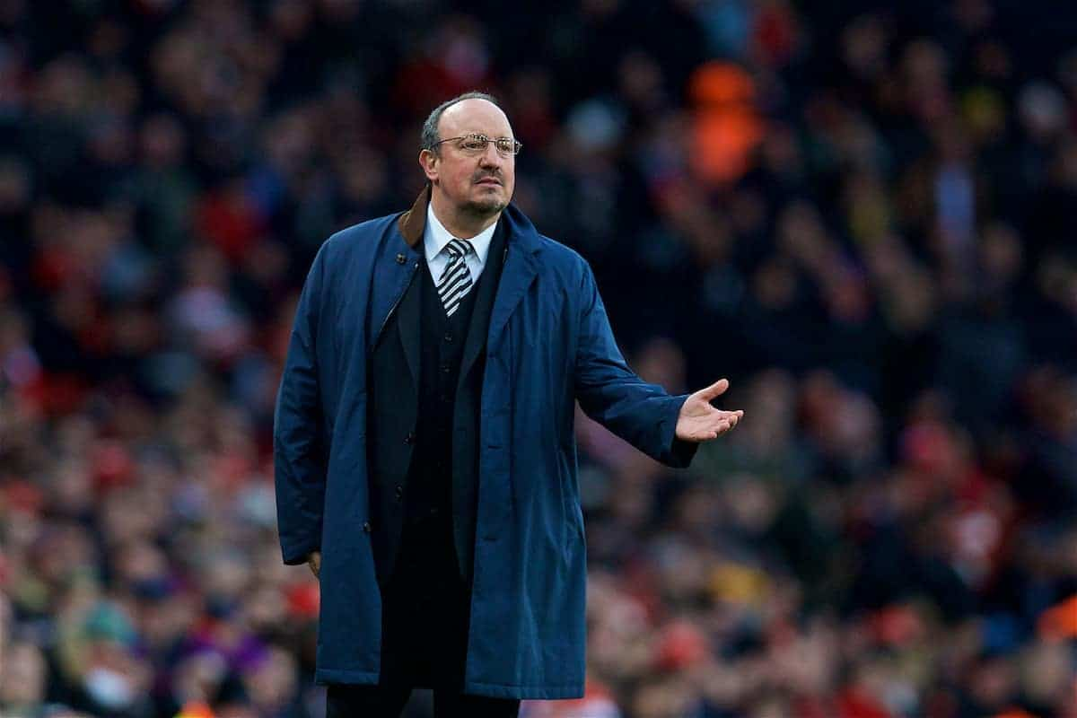 LONDON, ENGLAND - Friday, December 15, 2017: Newcastle United's manager Rafael Benitez reacts during the FA Premier League match between Arsenal and Newcastle United at the Emirates Stadium. (Pic by David Rawcliffe/Propaganda)