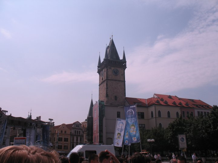 The medieval clock tower located on Old Town City Hall
