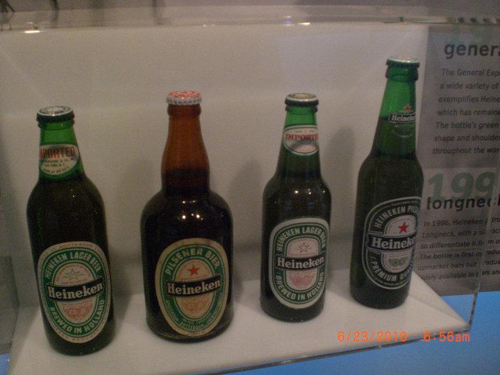 An assortment of Heineken bottles