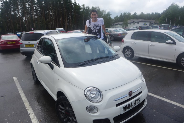 Aras posing with our Fiat 500