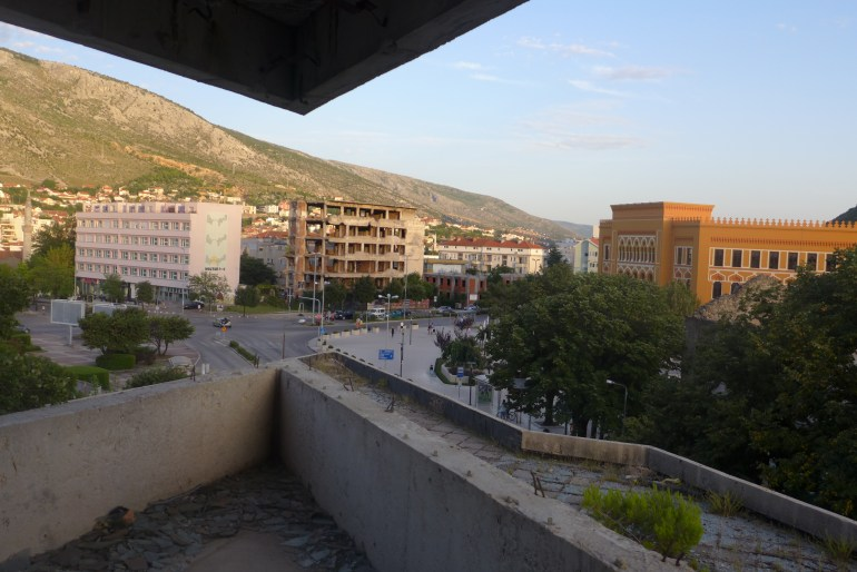 """View of the """"front line"""" from the second story of the sniper tower"""