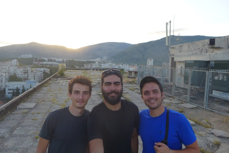 Despite its eerie presence, the top gave a great view at sunset – With travel mates Julien (left) and Apollinaire