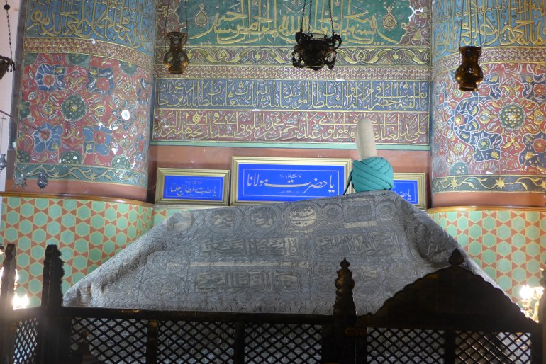 Mevlana's sarcophagus, situated under the green dome