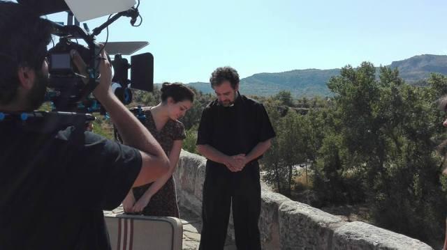 Actores rodando 'Mermelada de Moras' en Capella (Huesca)