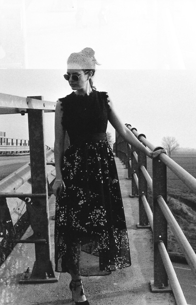 Floral Midi Dress in a Black and White Film