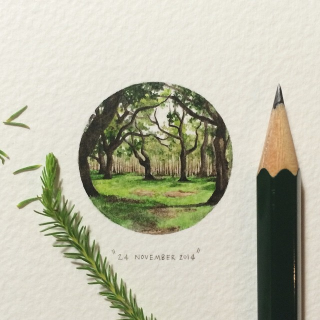 Day 328 : Cape Town is known for its outdoor trance parties. This year, Vortex Open Source celebrates its 20-year anniversary, which will take place in the Circle of Dreams (with a dancefloor amidst the trees). 🌿 27 x 27 mm. #365postcardsforants #wdc624 #miniature #watercolour #vortex #tranceparties #circleofdreams #trees #painting
