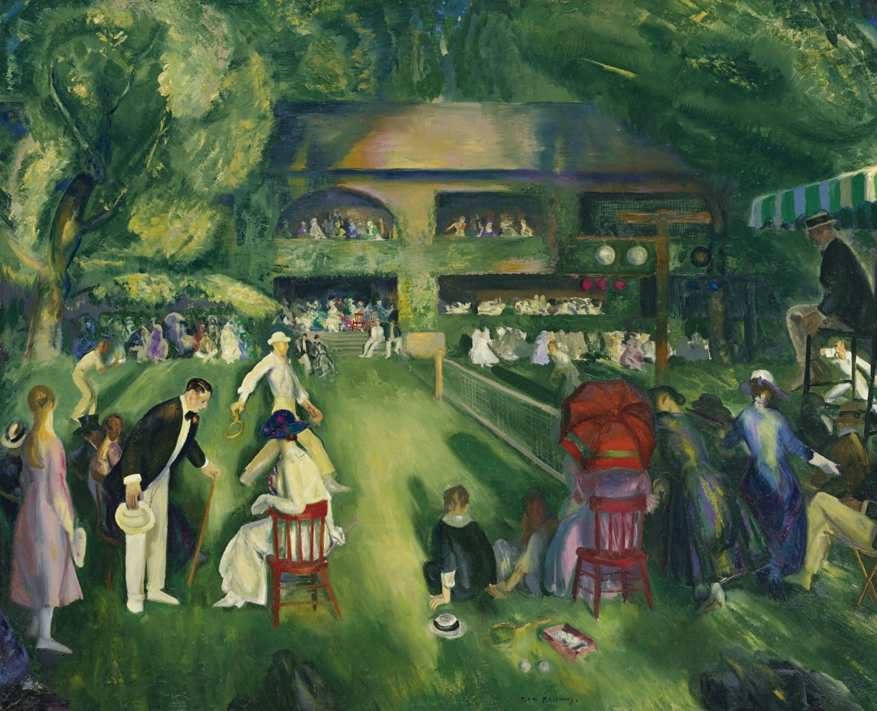 lawrenceleemagnuson:George Wesley Bellows (USA 1882–1925)Tennis at Newport (1920)oil on canvas 109.2 × 134.6 cm