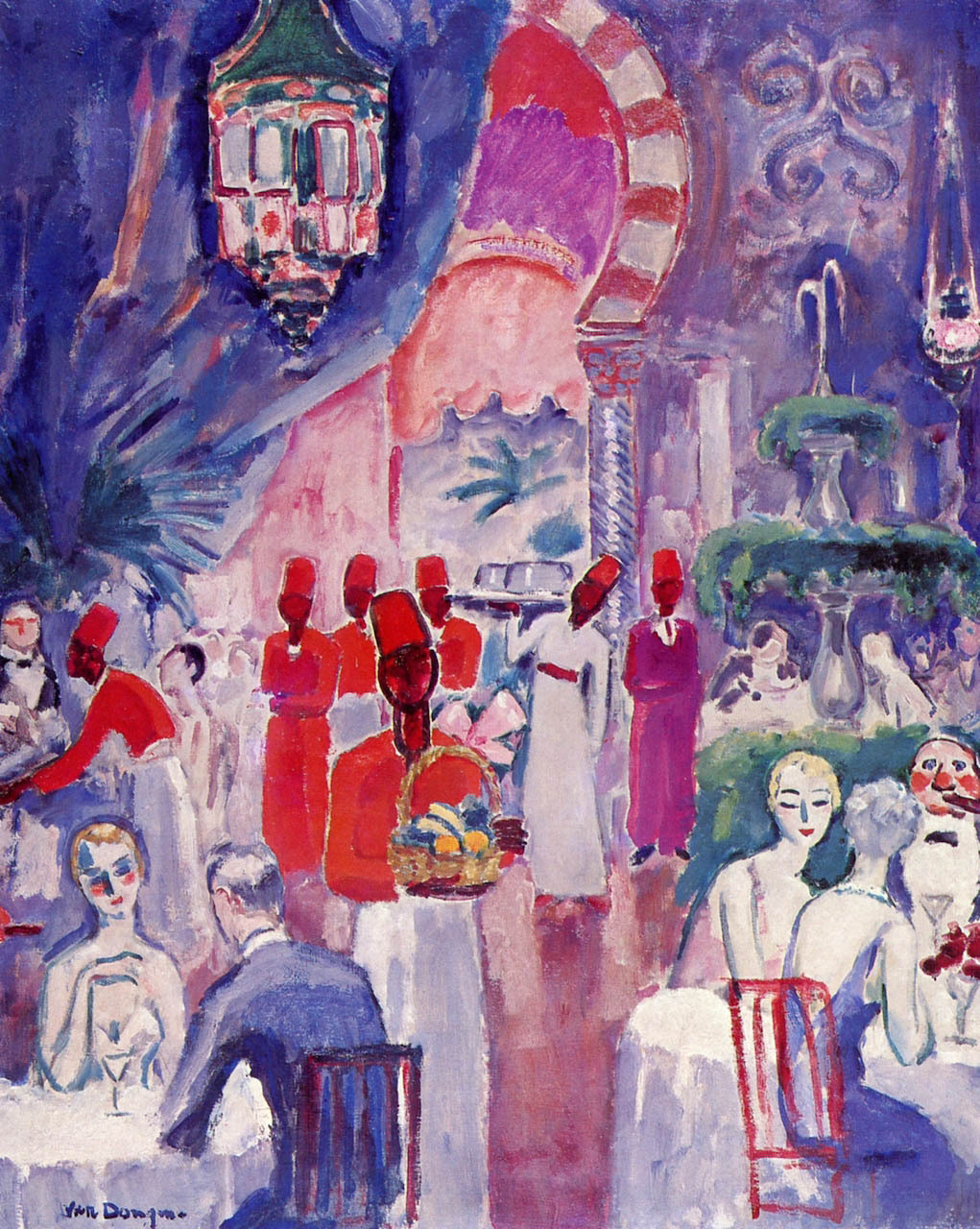 ageoftheart:At Shepheard's Restaurant, Cairo  Artist:Kees Van DongenYear:1928Type:Oil on canvas