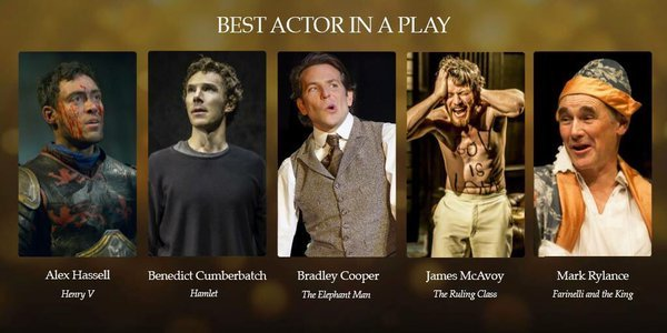 #WOSawards nominations for Hamlet :)Best Actor in a Play: Benedict CumberbatchBest Supporting Actress Play: Anastasia Hille and Sian BrookeBest Supporting Actor Play: Ciarin Hinds and Kobna Holdbrook-SmithBest Direction: Lyndsey TurnerBest Lighting Design: Jane CoxBest Set Design: Es DevlinBest Play Revival: HamletVOTE!!
