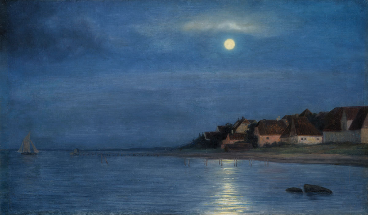 Carl Bloch (Denmark 1834-1890)Maaneskin Hellebeck - Moonlight on the Sea at Hellebeckoil on canvas pasted on panel 51x 86 cm