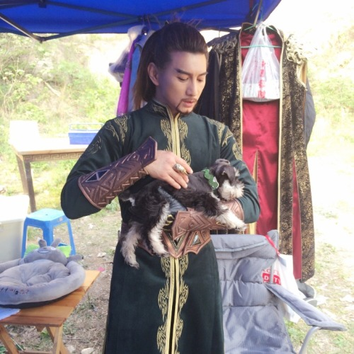 Nicky Wu with dog Xiaolongbao