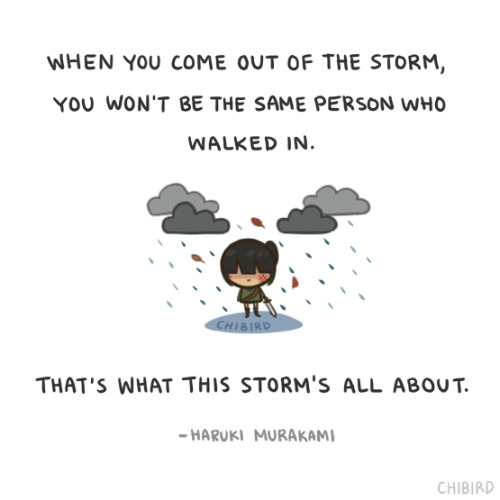 """And once the storm is over, you won't remember how you made it through, how you managed to survive. You won't even be sure, whether the storm is really over. But one thing is certain. When you come out of the storm, you won't be the same person who walked in. That's what this storm's all about."" -Haruki Murakami"