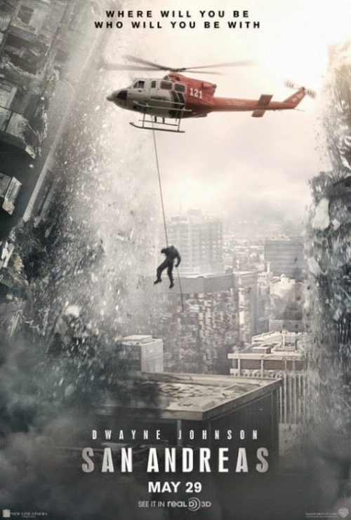 "San Andreas Review by Miranda BoyerLos Angeles rescue ranger Ray, (Dwayne Johnson…am I still<br /><br /> aloud to say Dwayne ""The Rock"" Johnson?) and his wife (Carla Gugino) are action<br /><br /> spouses trying to get to San Francisco after the Big One finely hits the<br /><br /> California San Andreas Fault line to save their daughter. Be it helicopter,<br /><br /> stolen truck, stolen plane, or stolen boat their only goal is to save their<br /><br /> daughter.  This is a story about a middle-class nuclear family on verge<br /><br /> of a divorce that manage to come together in the middle of the biggest crisis<br /><br /> known to man, with a private helicopter. While it doesn't say specifically, I'm<br /><br /> pretty sure it was a work issue helicopter for those who wonder how convenient<br /><br /> it was that he owned one. This movie will provide you with an endless succession of<br /><br /> cringe worthy natural disasters. The fear of falling, being crushed, drowning<br /><br /> or a hundred other ways to die are ever present. Never say never because let me<br /><br /> just say, it can always get worse. Paul Giamatti is about the only shining star in this film,<br /><br /> holding down the subplot about a Caltech professor who knew the whole event<br /><br /> would happen only no one listens.While I love to watch anything that Dwayne Johnson does, he just didn't nail<br /><br /> the heart felt moments making my movie theatre companion and I giggle.<br /><br /> Although, I will watch him run with the injured and helpless in his arms any<br /><br /> day.  In the end this was a doomsday film with a never ending<br /><br /> supply of action. If you don't mind the subpar acting and some of the cheesiest<br /><br /> lines known to man, it wasn't a that bad of a film. I might have nightmares about<br /><br /> earthquakes, but I kind of liked it."