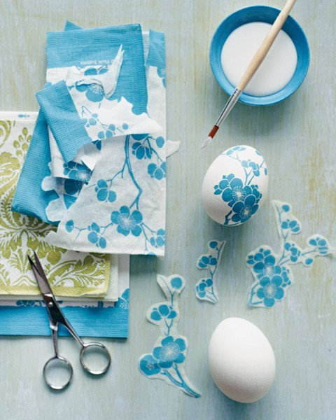 DIY decoupage eggs for Easter<br /><br /><br /><br /><br /><br /><br /> Need: hard boiled eggs (cold), pretty fabric, glue (craft glue)<br /><br /><br /><br /><br /><br /><br /> 1. Cute out shapes you like from fabric<br /><br /><br /><br /><br /><br /><br /> 2. Carefully paint a thin layer of glue and press fabric down on glue - paint another thin layer on top (make sure there are no bubbles in glue)<br /><br /><br /><br /><br /><br /><br /> 3. Dry and if you want a glossy look add another layer of glue otherwise display in pretty dish for company.<br /><br /><br /><br /><br /><br /><br /> Eggs will spoil - so only sit out on table when ready to eat.<br /><br /><br /><br /><br /><br /><br /> Decoupage(ordécoupage) is theartofdecoratingan object bygluingcoloredpapercutouts onto it in combination with specialpainteffects,gold leafand so on