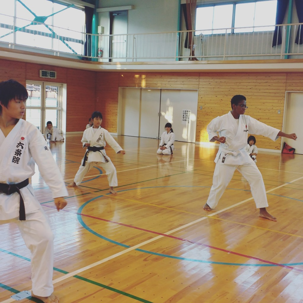 My Okayama host dad is a karate instructor, and he took me to one of his classes.