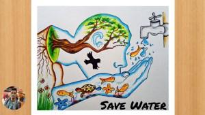 Save Water Drawing Sketch 18 -