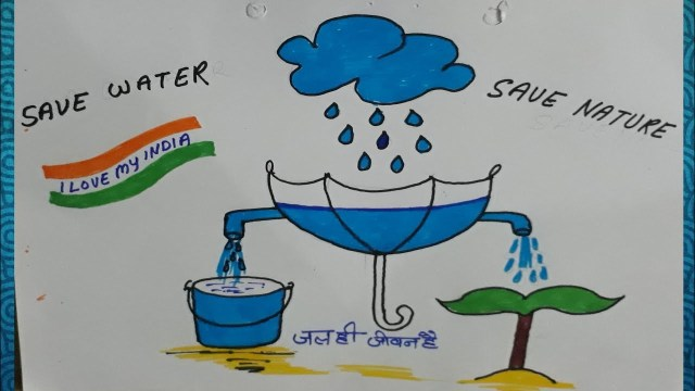 Save Water Drawings in Hindi