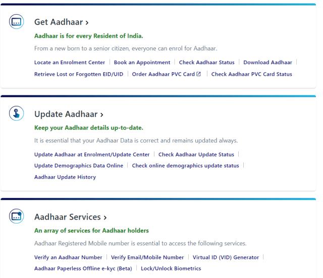 aadhar update -