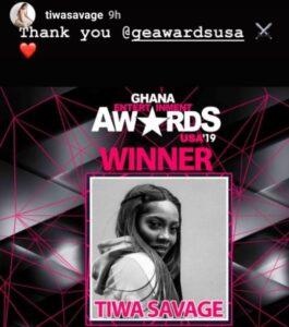 Tiwa Award Thanks