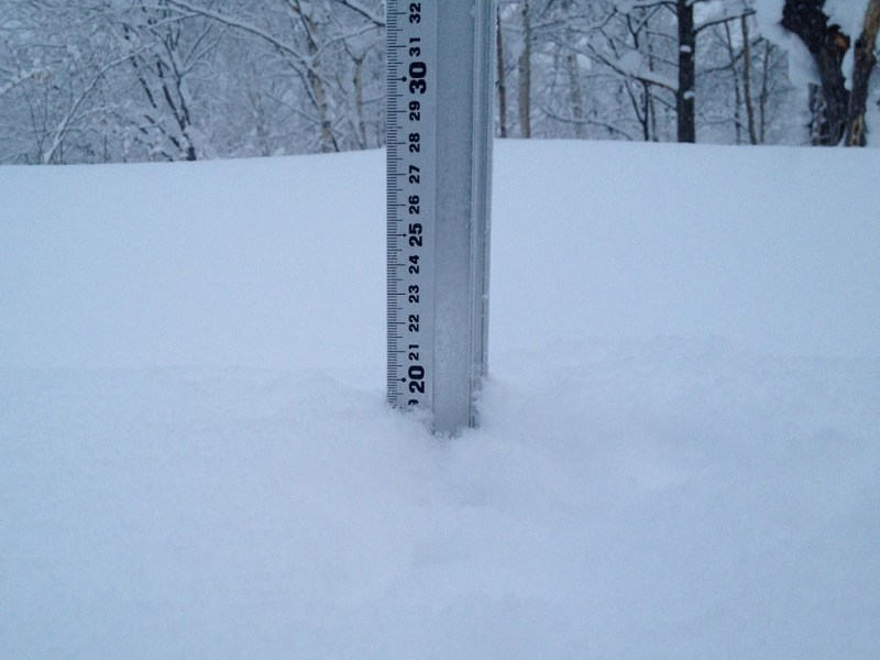 Snow fall depth in Hirafu Village, 10 January 2013