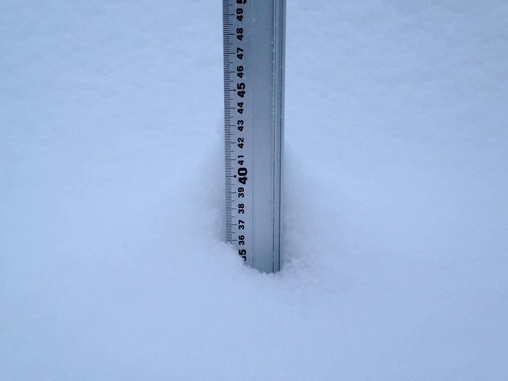 Snow fall depth in Hirafu Village, 19 January 2013