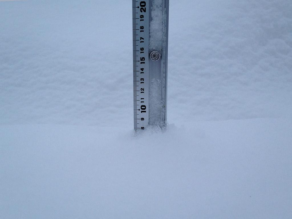 Snow fall depth in Hirafu Village, 25 January 2013